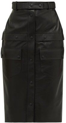 Symonds Pearmain - Button Down Leather Midi Skirt - Womens - Black
