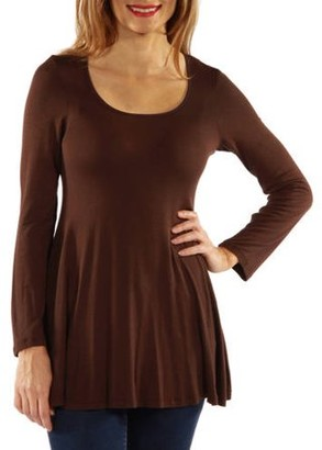 24/7 Comfort Apparel Women's Long Sleeve Scoop Neck Tunic Top