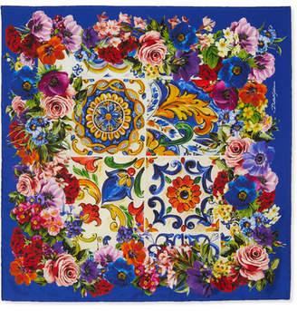 Dolce & Gabbana Printed Silk-twill Scarf - Blue