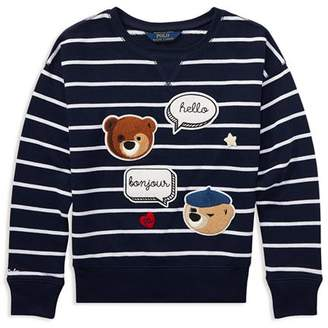 Ralph Lauren Girls' Striped Polo Bear Sweater with Chenille Patches - Big Kid