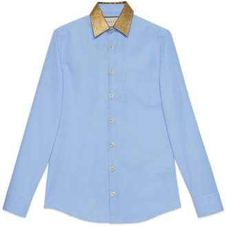 Gucci Oxford cotton shirt with lurex collar