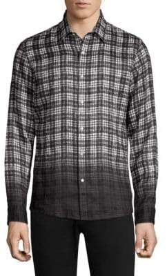 Michael Kors Slim-Fit Madras Dip Dye Check-Print Woven Shirt