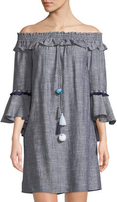 Catherine Malandrino Off-The-Shoulder Bell-Sleeve Chambray Dress