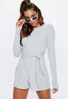 Missguided Gray Ribbed Tie Side Romper
