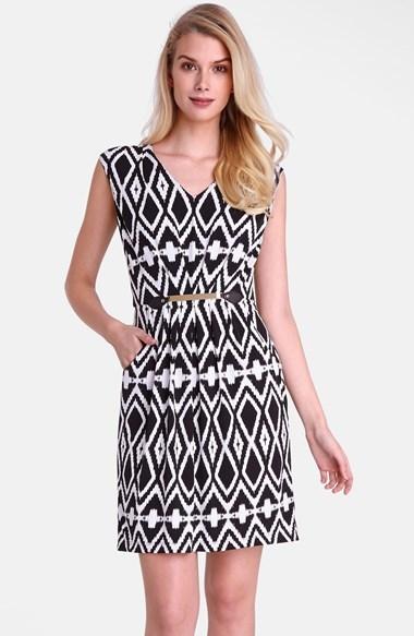 Tahari Belted Geo Print Jersey Sheath Dress
