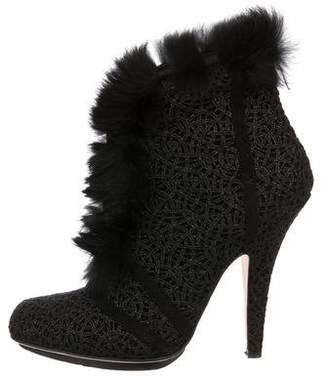 Christian Dior Fur-Trimmed Ankle Booties
