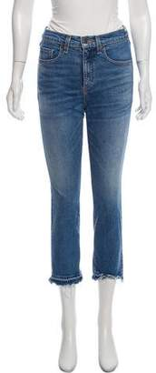Veronica Beard Distressed Mid-Rise Jeans