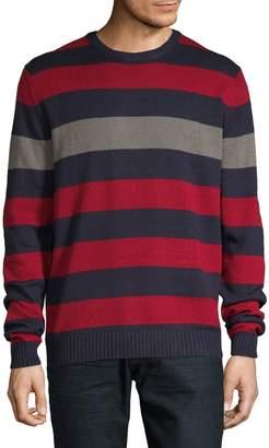 Izod 7GG Crew Fancy Striped Cotton-Blend Sweater