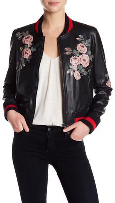 Bagatelle Floral Painted Bomber Jacket $158 thestylecure.com