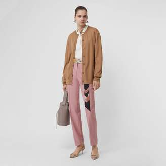 Burberry Straight Fit Wool Blend Tailored Trousers , Size: 06, Pink