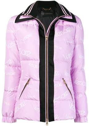Versace logo zipped padded jacket