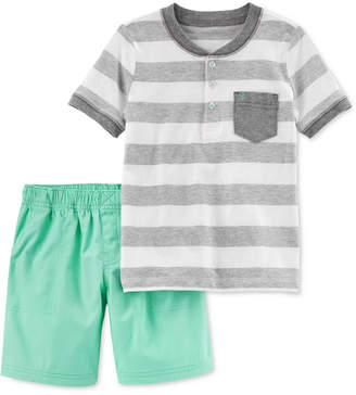 Carter's 2-Pc. Striped Cotton Shirt & Shorts Set, Toddler Boys