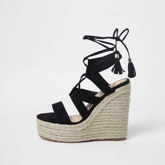 River Island Womens Black lace-up espadrille wedges sandals