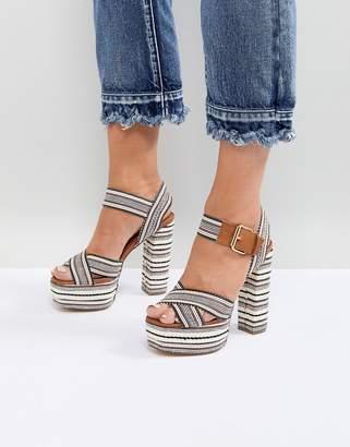 Glamorous Platform Espadrille Stripe Detail Heeled Sandal