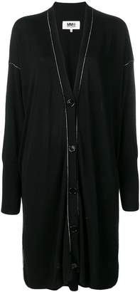 MM6 MAISON MARGIELA contrast stitch cardi-coat