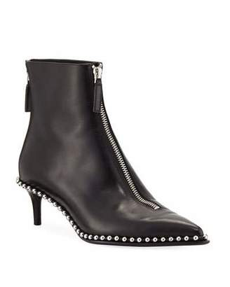 Alexander Wang Eri Low Leather Ball-Stud Bootie