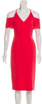 Roland Mouret Cold-Shoulder Midi Dress Pink Cold-Shoulder Midi Dress