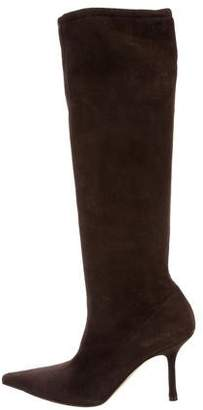 Jimmy Choo Suede Pointed-Toe Knee-High Boots