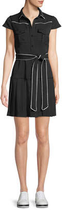 Alice + Olivia Button-Front Cap-Sleeve Pleated Shirtdress