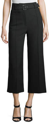 Veronica Beard Lyla High-Waist Wide-Leg Crop Crepe Pants