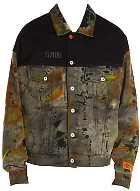 Heron Preston Men's Over Tie-Dye Colorblock Jean Jacket