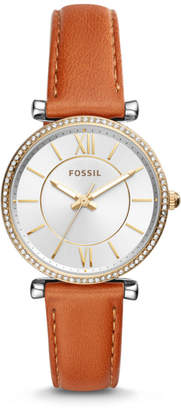 Fossil Carlie Three-Hand Luggage Leather Watch
