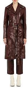 Helmut Lang Women's Distressed Leather Trench Coat - Chnt
