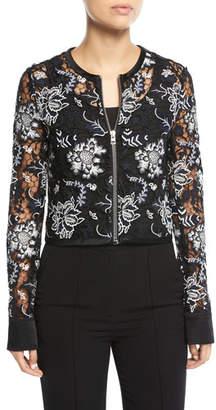 Diane von Furstenberg Zip-Front Cropped Lace Jacket