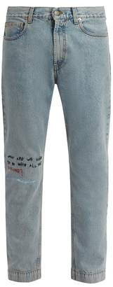 Gucci Mid Rise Embroidered Skinny Leg Jeans - Mens - Blue