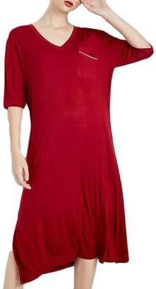 Wofupowga Women s Short Sleeve Modal Sleep Dress Sleepwear V-Neck Casual  Nightgowns L 3a10ef238