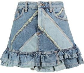 Marc by Marc Jacobs Ruffled Patchwork Denim Mini Skirt