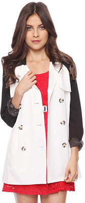 Forever 21 Belted Contrast Trench Coat