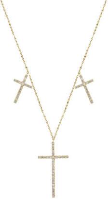 Lana Flawless Triple Cross Necklace with Diamonds