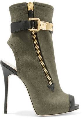Giuseppe Zanotti - Roxie Leather-trimmed Canvas Ankle Boots - Army green $1,250 thestylecure.com