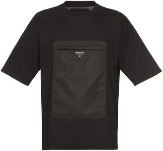 Prada Black Cotton T-Shirt With Nylon Pocket