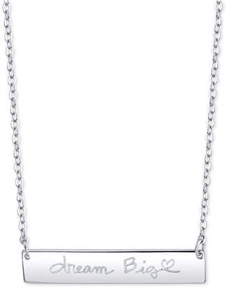 "Unwritten Dream Big"" Horizontal Bar 18"" Pendant Necklace in Sterling Silver"