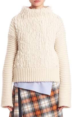 Alberta Ferretti Women's Furry Cable-Knit Turtleneck