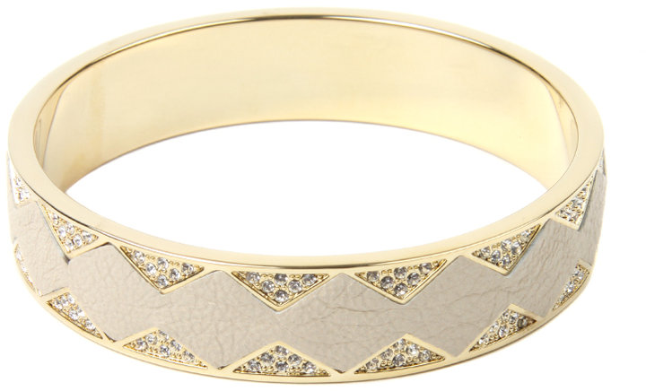 House of Harlow 1960 14ct Gold Plated Leather & Crystal Bangle