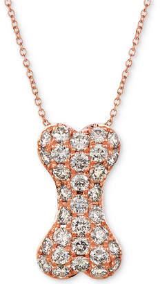 "LeVian Le Vian Nude Diamond Dog Bone 20"" Pendant Necklace (1 ct. t.w.) in 14k Rose Gold"
