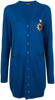 Dolce & Gabbana long-line cardigan with Sacred Heart patch