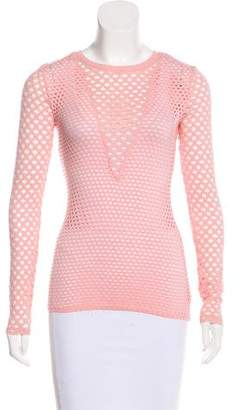 BCBGMAXAZRIA Perforated Long Sleeve Top