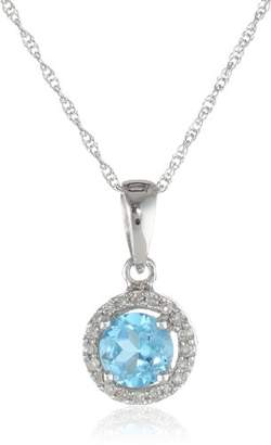10K White Gold Round Topaz and Diamond-Framed Pendant Necklace