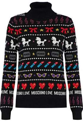 Love Moschino Metallic Jacquard-Knit Turtleneck Sweater