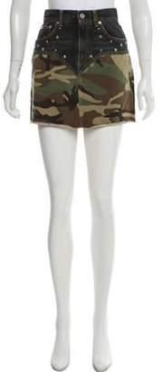 Saint Laurent Camouflage Mini Skirt Olive Camouflage Mini Skirt