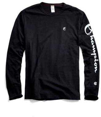 Todd Snyder + Champion Champion Long Sleeve Arm Graphic in Black
