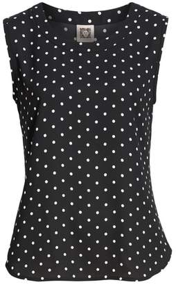 Anne Klein Sleeveless Dot Crepe de Chine Top