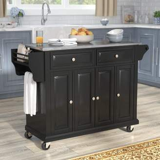Co Darby Home Chan Kitchen Island with Stainless Steel Top Base