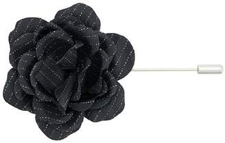 Lanvin pinstriped flower brooch