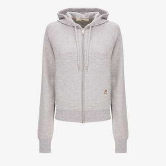Bally Wool Hooded Sweatshirt Grey, Women's knitted wool hoodie in grey