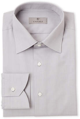 Canali Grey End-On-End Modern Fit Dress Shirt